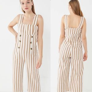 Urban Outfitters Murphy Striped Button Jumpsuit